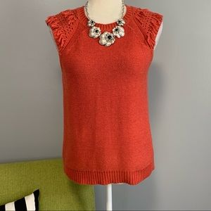 Banana Republic Orange Tassel Sleeveless Sweater